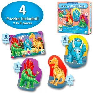 Dört Puzzle Bir Arada / Dinozor