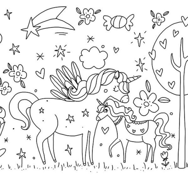 Unicorn Ormanı Boyama Kağıdı